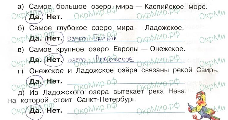 Рабочая тетрадь (Плешаков, Крючкова) 1 часть - 2. Природа России. Моря, озёра и реки России, ответ 3