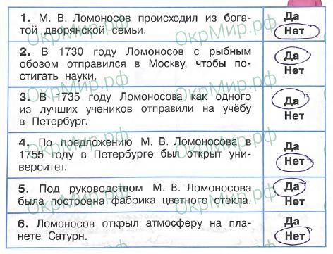 Рабочая тетрадь (Плешаков, Крючкова) 2 часть - 5. Страницы истории России. Михаил Васильевич Ломоносов, ответ 3